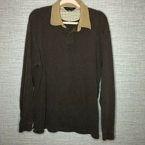 Brooks Brothers Mens Sz L Brown Long Sleeve Polo